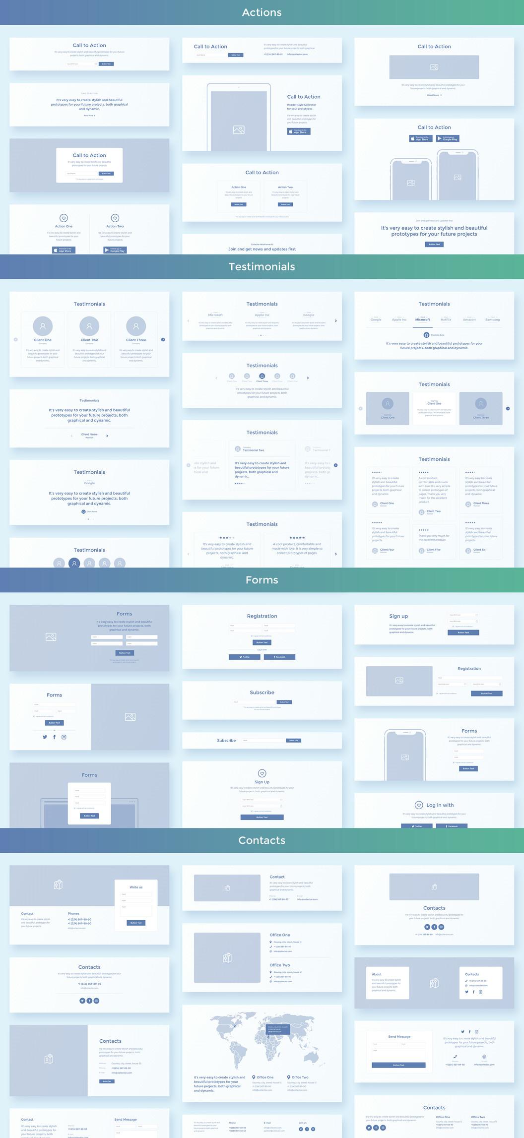 Комплект веб файрфреймов, Collector - Простой и удобный набор для прототипирования сайтов