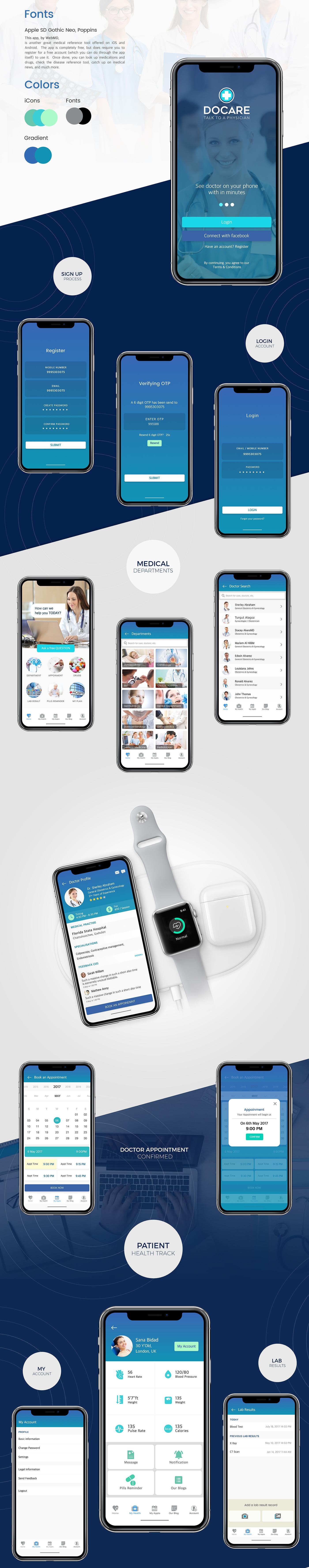Docare - Бесплатный набор UI медицинского iOS приложения для Adobe XD