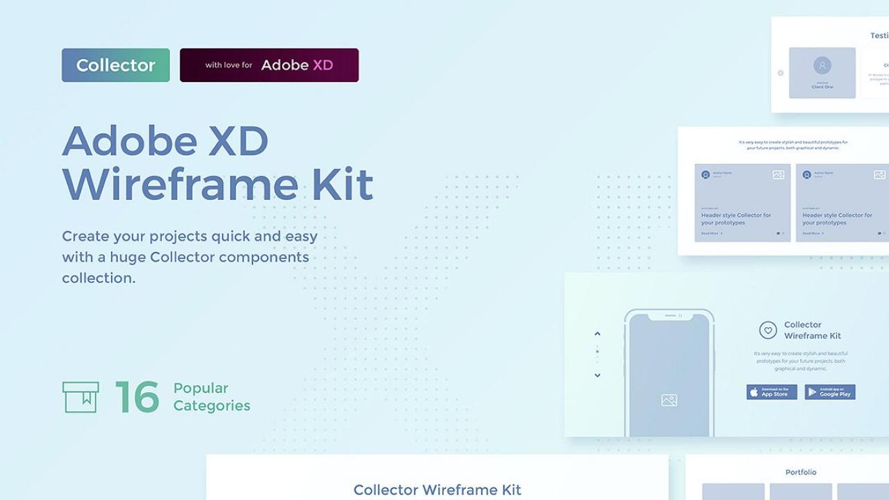Комплект веб файрфреймов, Collector – Простой и удобный набор для прототипирования сайтов