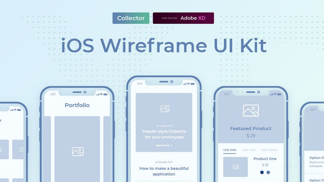Collector iOS Wireframe UI Kit – Простой и удобный набор для прототипирования мобильных приложений в Adobe XD