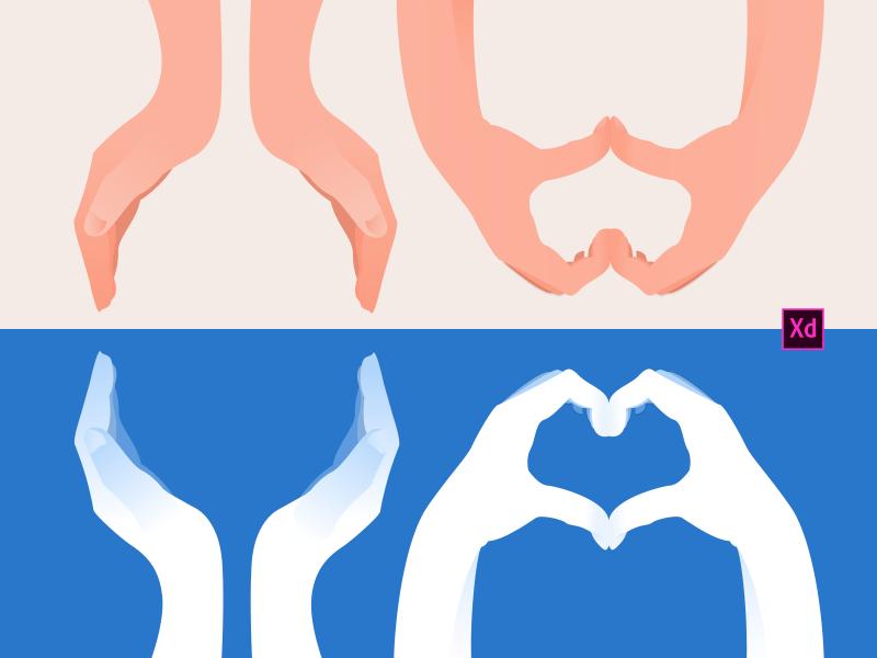 Руки – Иллюстрации сделанные в Adobe XD