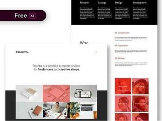 Talento – Бесплатный шаблон сайта портфолио для Adobe XD