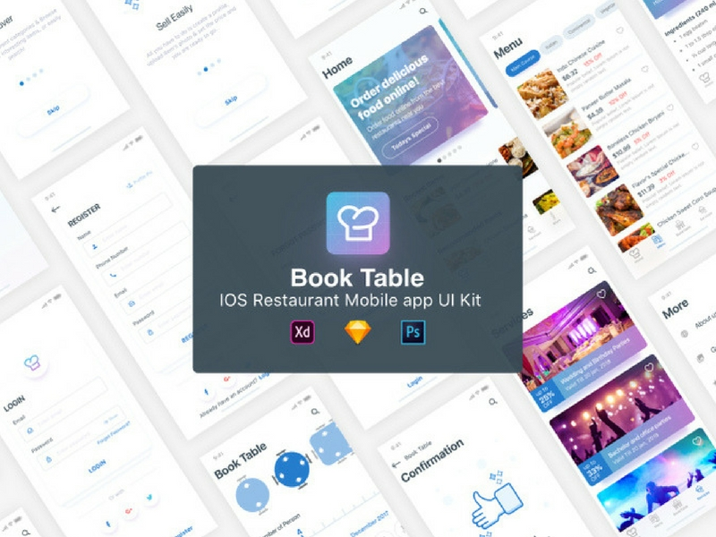 BookTable App UI Kit – Sketch, PSD и XD набор UI приложений iOS 11 для ресторанов