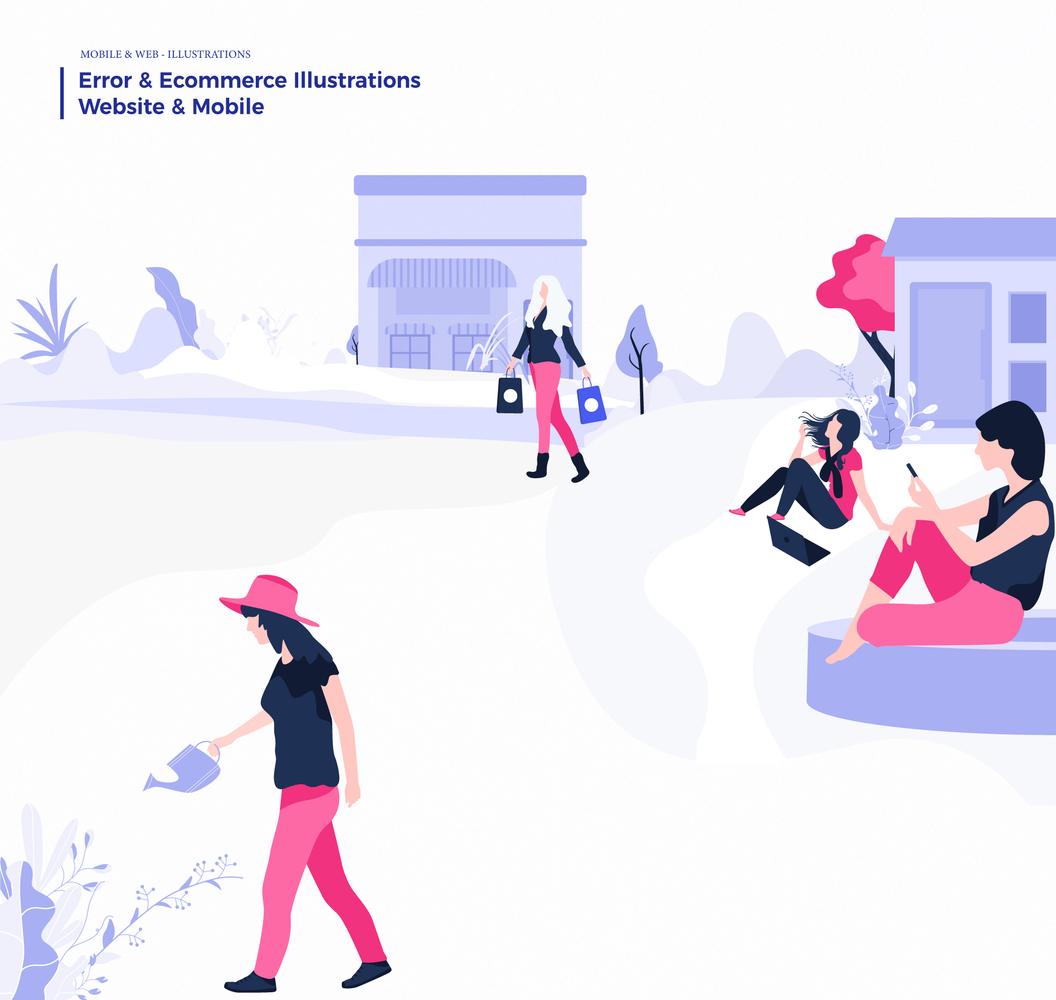 Error & Ecommerce Illustrations – Иллюстрации с мощной визуальной концепцией