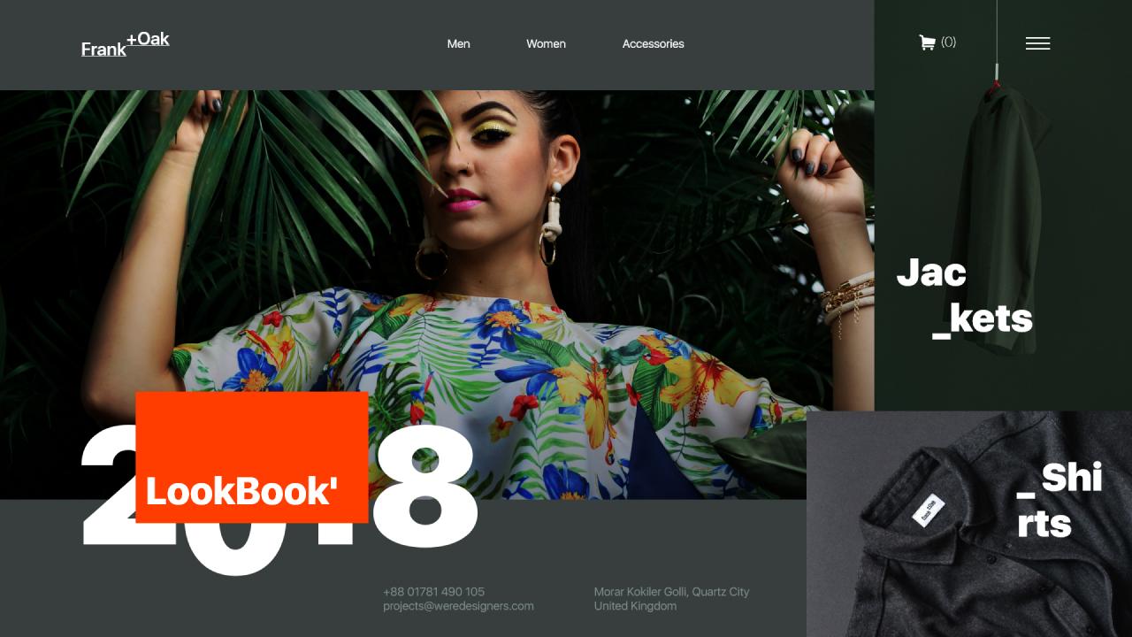 Frank +Oak – Бесплатная концепция дизайна интернет-магазина сделанная в Adobe XD
