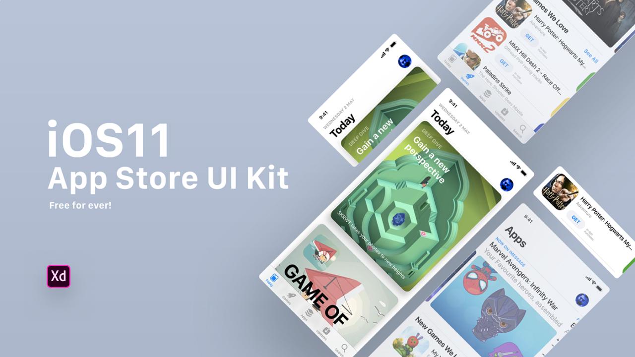 Бесплатный GUI App Store iOS11 для Adobe XD CC
