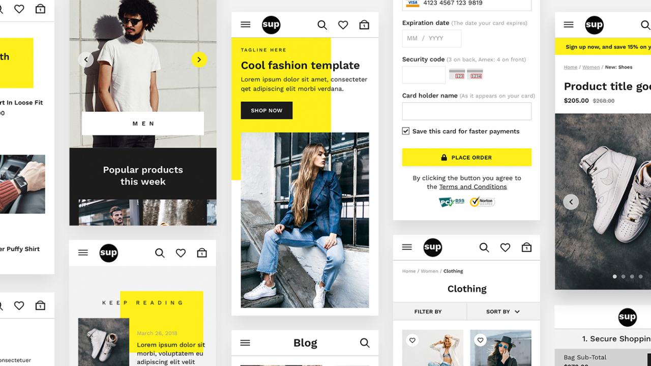 SUP Fashion UI Kit – Отзывчивый набор UI модной электронной коммерции для XD и Photoshop
