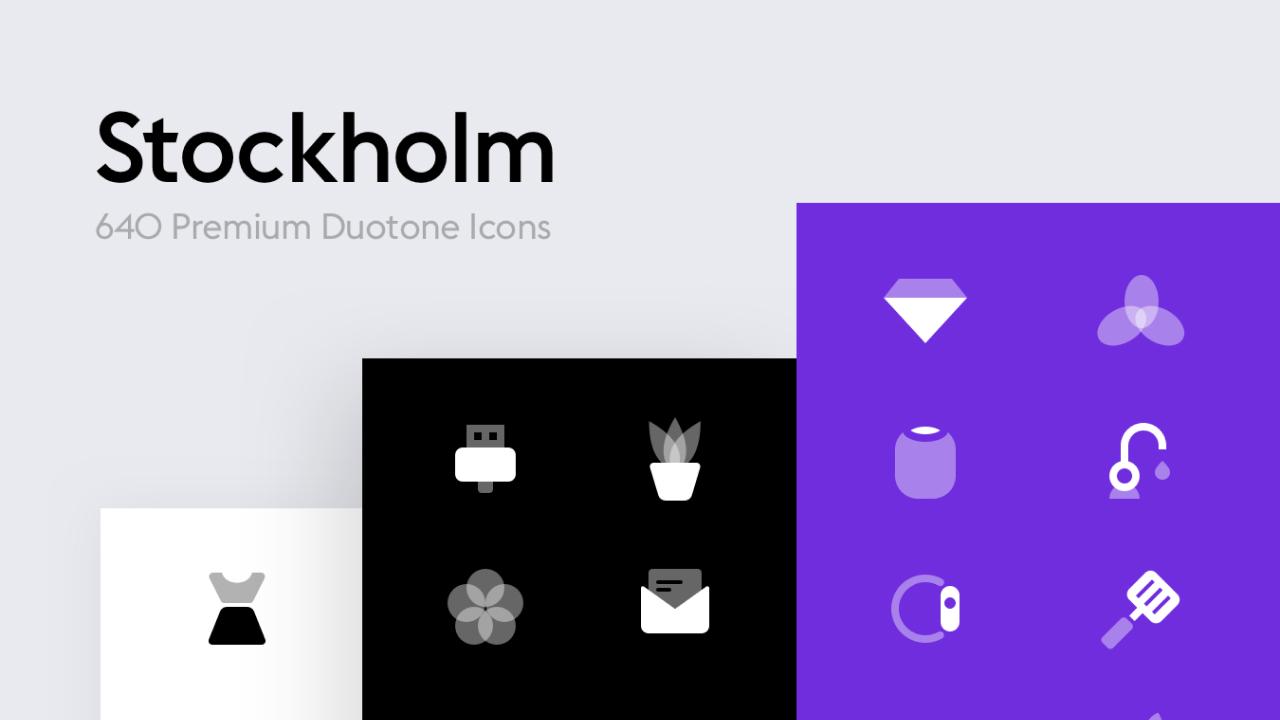 Stockholm Premium Icons – 640 векторных двухцветных иконок для iOS, Android и Web
