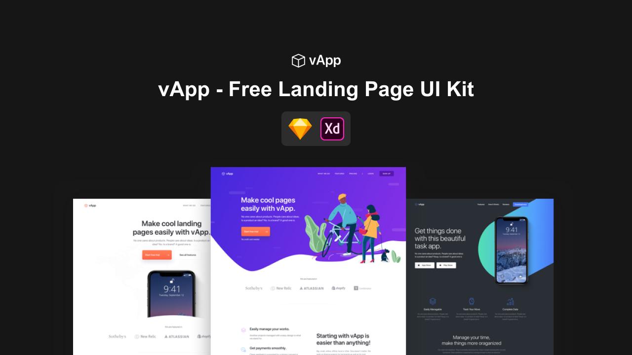 vApp – Бесплатный UI Kit для Landing Page (.xd, .sketch)