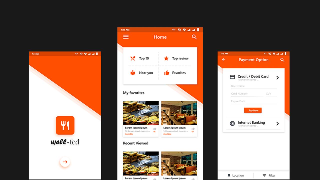 Nearby – Бесплатный шаблон ресторанного приложения для Android разработанный в .XD