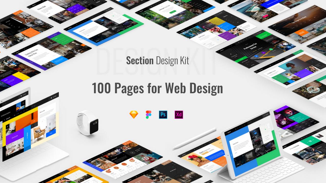 Section Design Kit – Набор блоков дизайна из 100 страниц для Sketch, PSD, Adobe XD, Figma