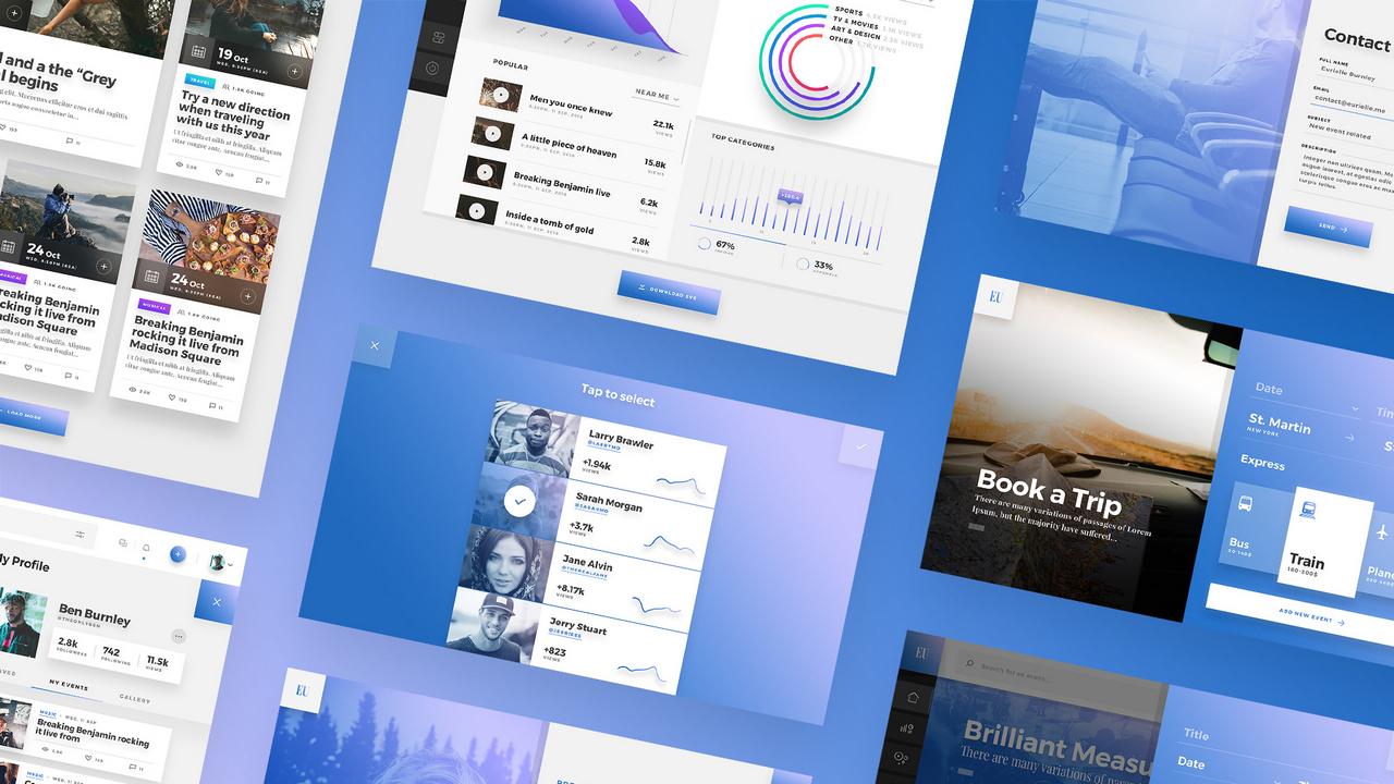 Eurielle Web App UI Kit – Сделанный вручную набор UI веб-приложений для событий и блогов, собранный в Adobe XD, PS, Sketch и Figma