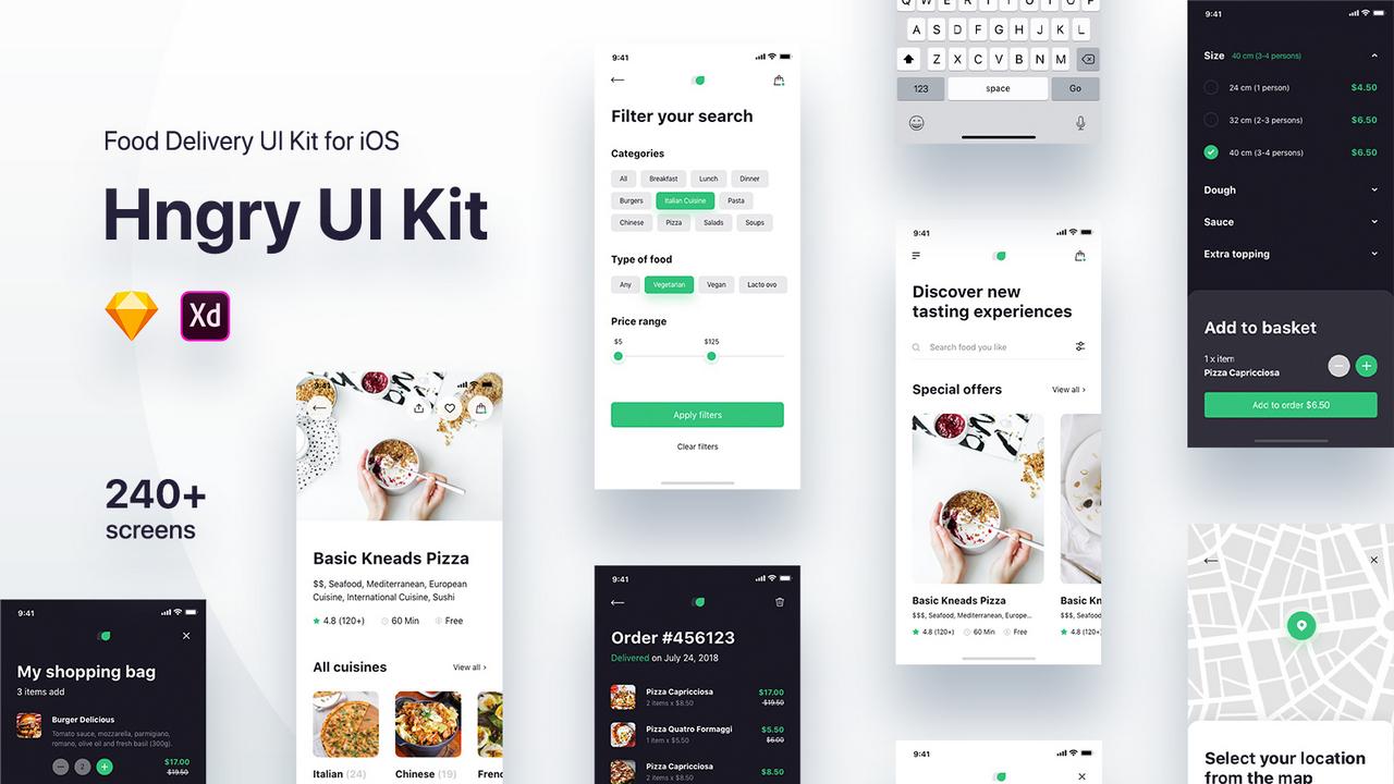 Hngry iOS UI Kit – 240+ экранов приложения для доставки еды в Adobe XD и Sketch