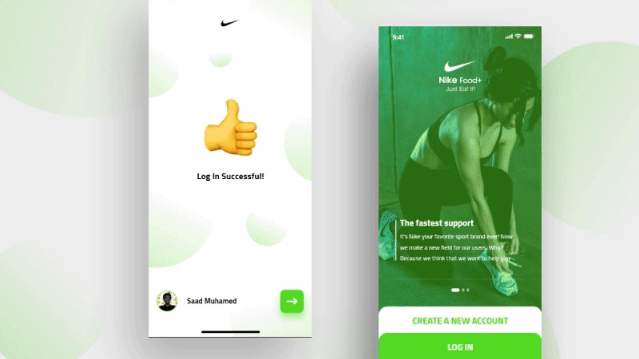 Новый ребрандинг мобильного приложения Nike – 20 бесплатных экранов для XD UI Kit