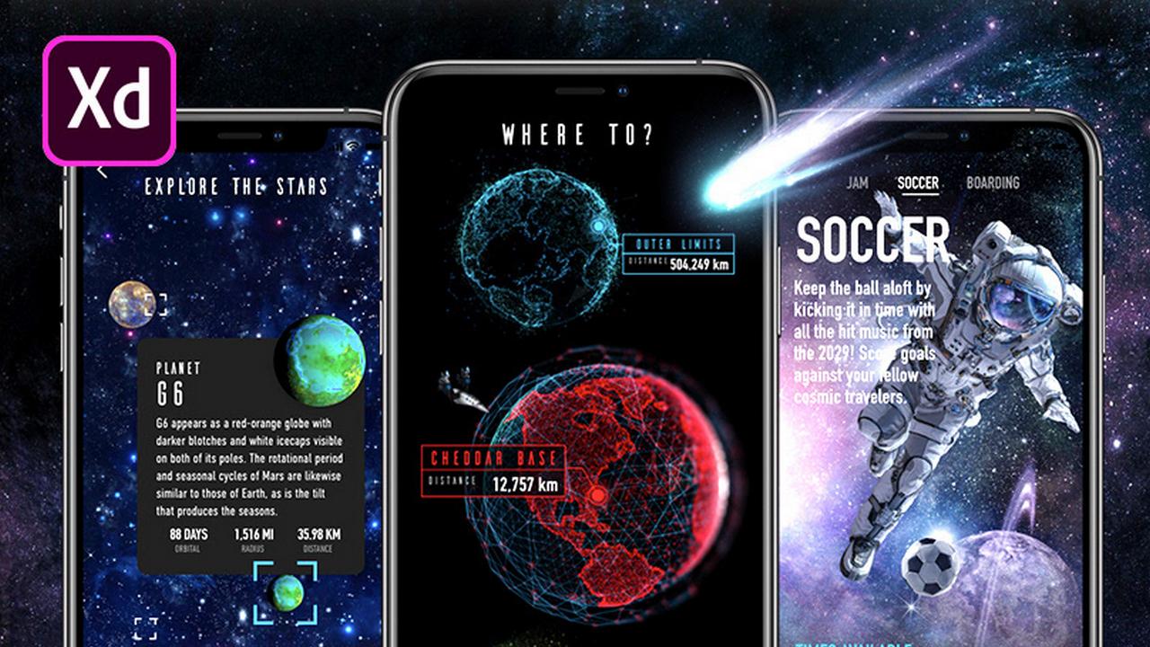 Бесплатный XD UI Kit для космического приложения сделанный на Adobe Live