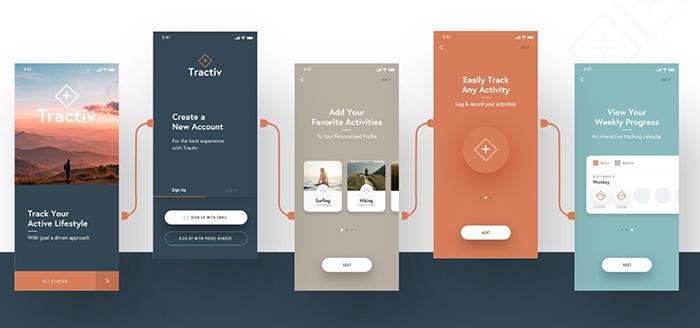 Tractiv, фитнес UI Kit для Adobe XD