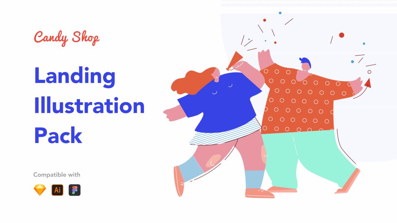 Candy Shop Illustrations – 20 векторных забавных иллюстраций для веб-сайта, приложения или презентации