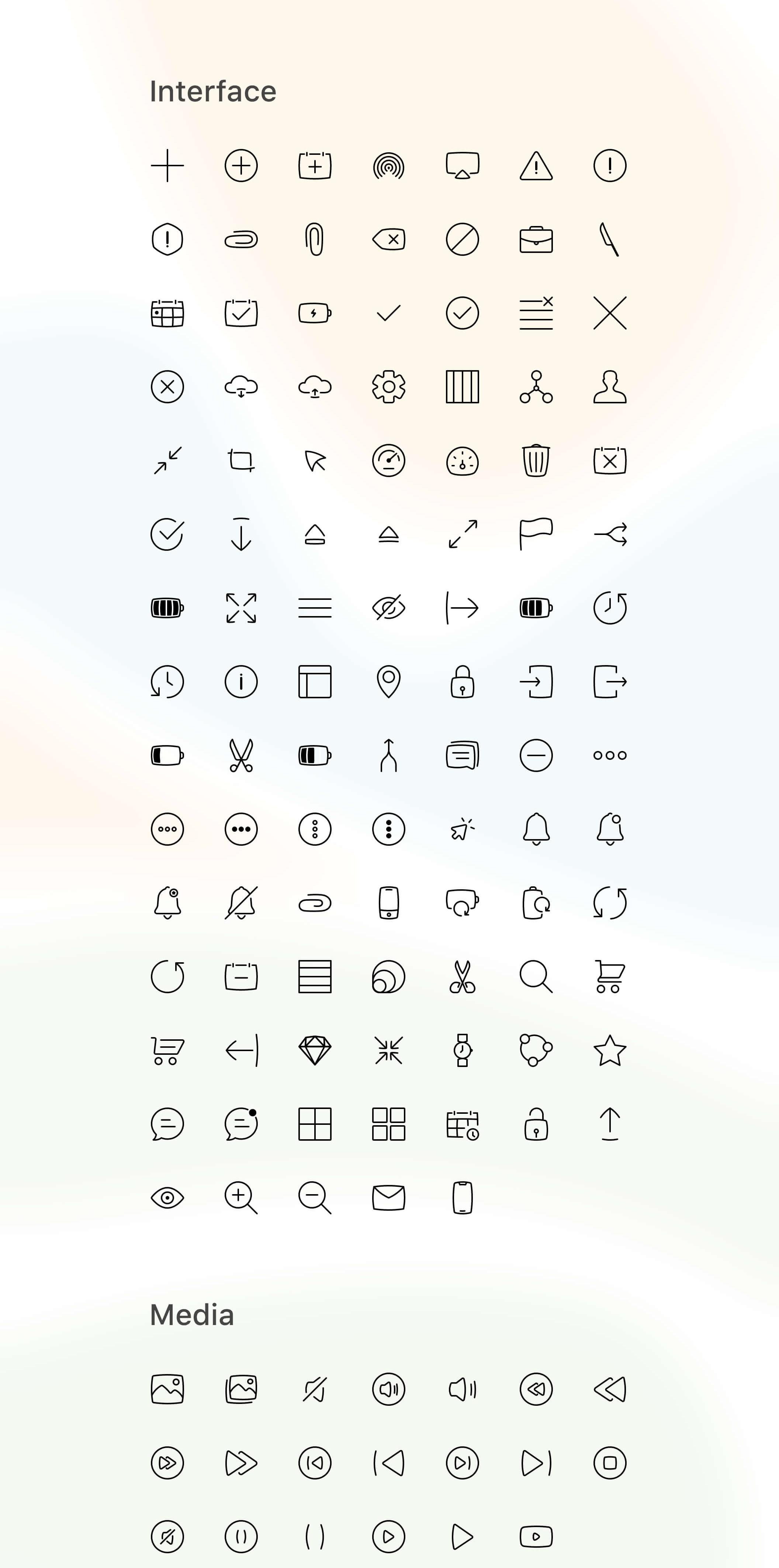 Blobby Icons Set – 343 интерфейсных, финансовых, медиа и VR иконок