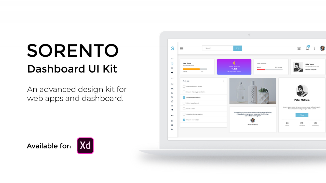 Sorento Dashboard UI Kit – Бесплатный Web Dashboard UI Kit
