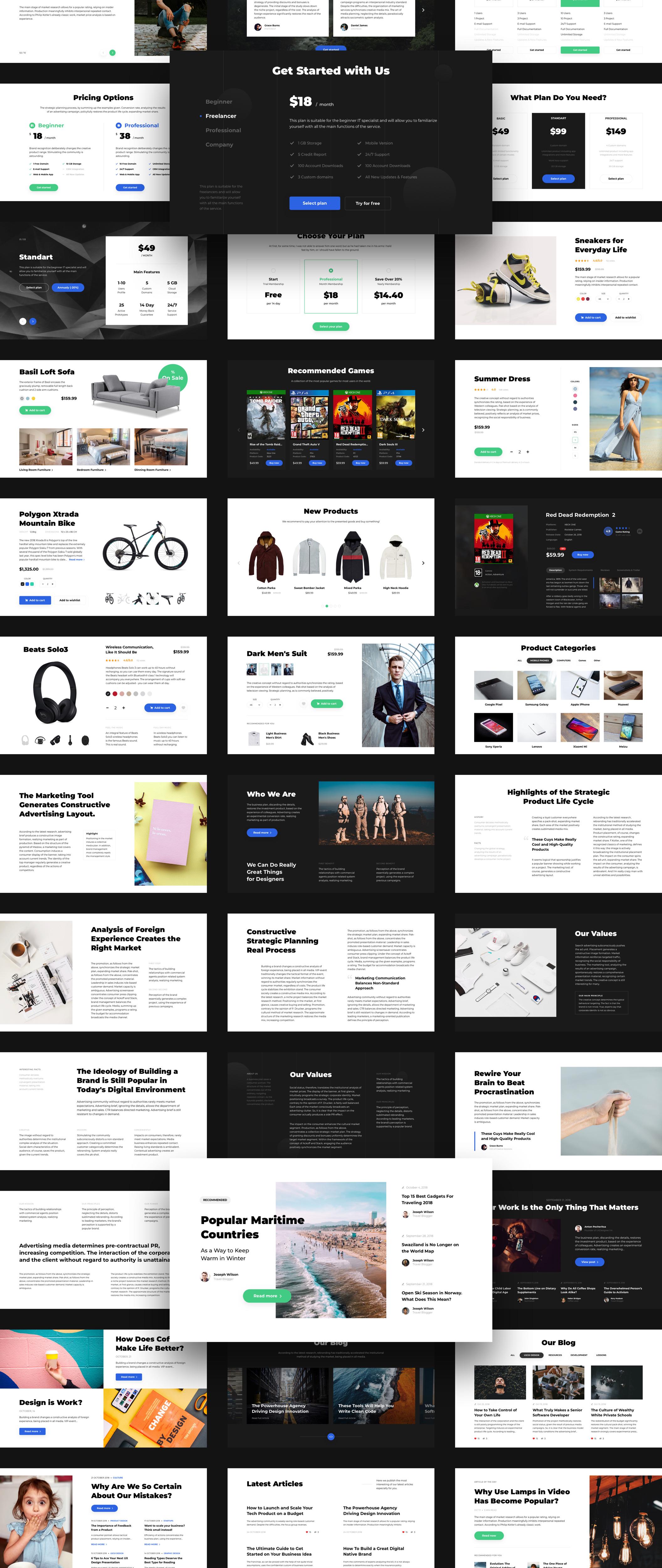 Landscape UI Pack – Пакет UI состоящий из 120 идеальных карточек для создания современных и красивых Landing Page