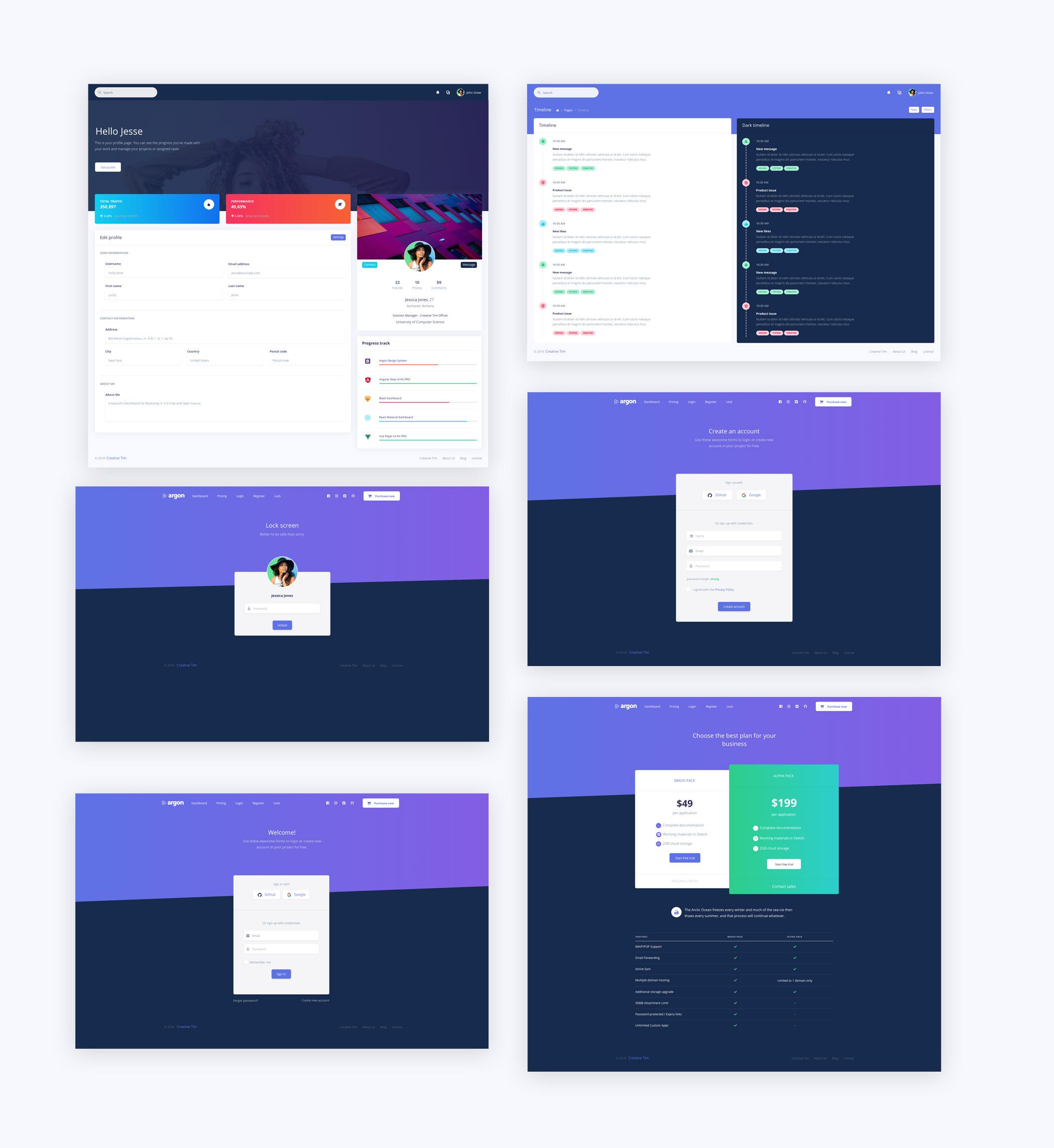 Argon Dashboard Pro – Экраны UI dashboard для Adobe XD и Sketch