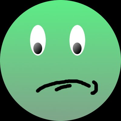 unhappy green face suffering from bad credit ratings