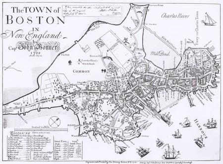 1722 Bonner Map of Boston