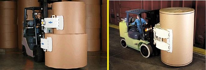 Xe nâng kẹp 1 cuộn giấy và 2 cuộn giấy đồng thời