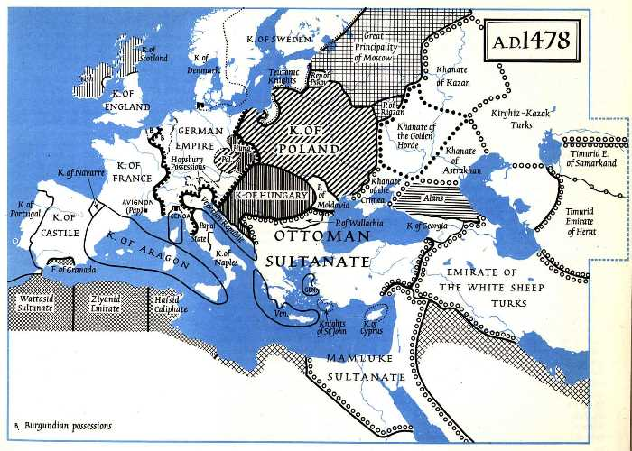 Map of Europe in 1487.