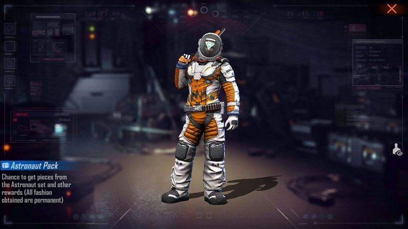 Free Fire redeem code for Astronaut pack
