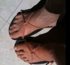Bare foot tying sandals by Kit Raymond