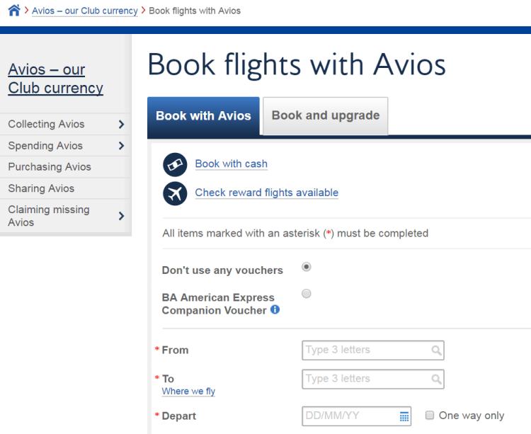 Book flights with Avios