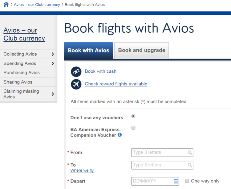 Book flights with Avios