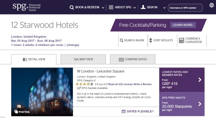 Starwood hotels in London