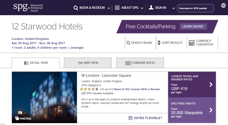 Starwood hotels in London