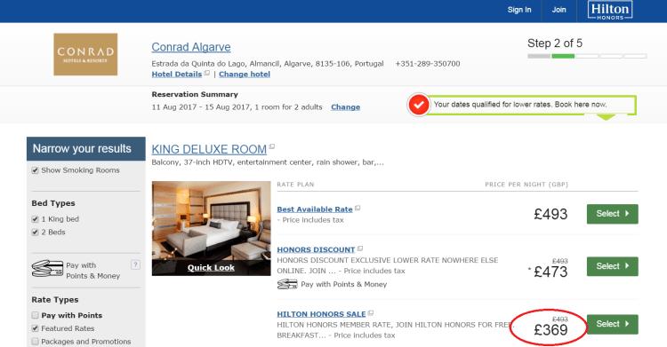 Conrad Algarve pricing options