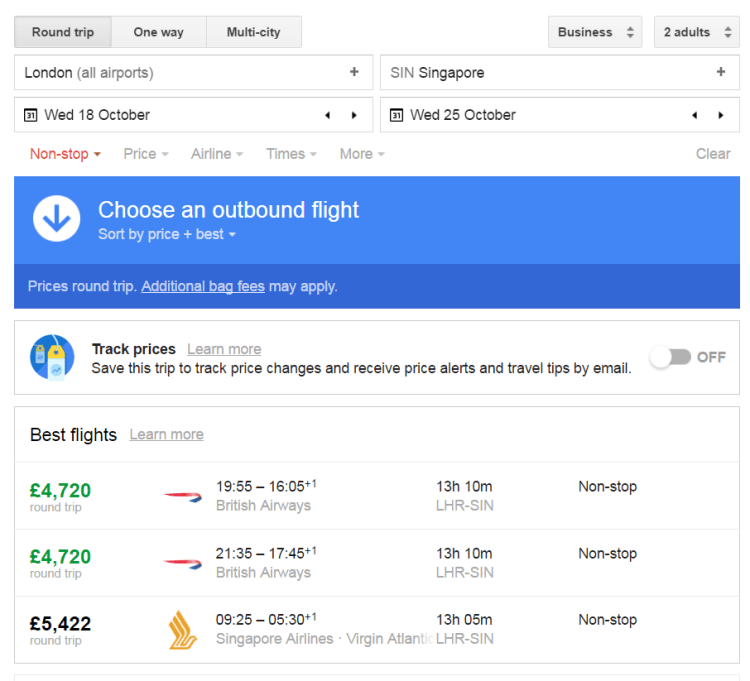 Google flights screenshot of alternative direct flights to Singapore