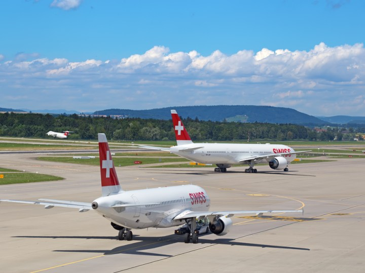 Two Swiss Airlines planes on the runway