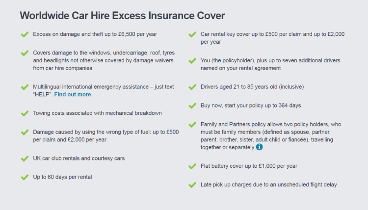 Full list of Insurance4carhire.com coverage areas
