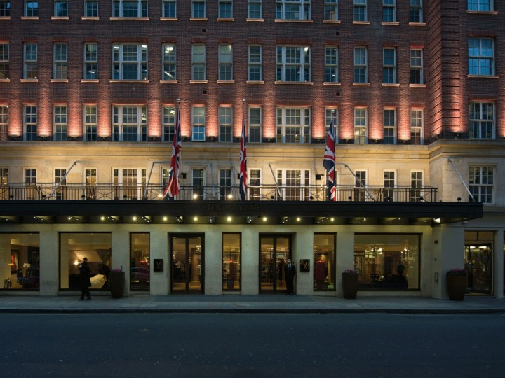 External image of the entrance to the Mayfair Hotel in London