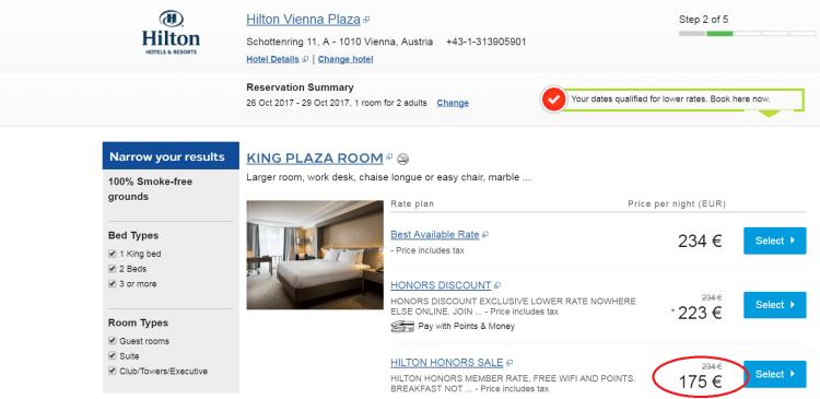 Hilton Vienna pricing example
