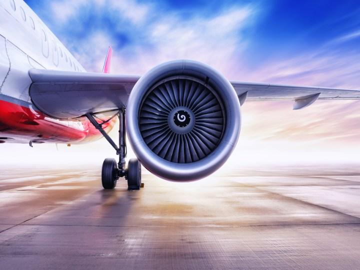 Close-up shot of aircraft engine