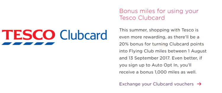 Details of a 20% conversion bonus to Virgin Atlantic Flying Club from Tesco Clubcard points