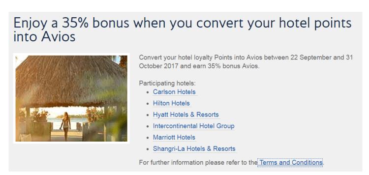 35% bonus Avios on hotel points