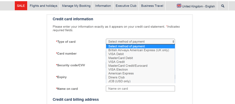 Buy avios promotion payment options