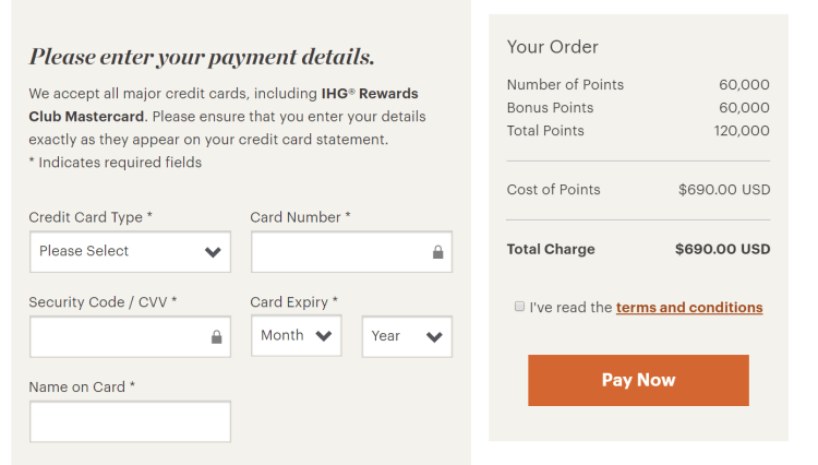 IHG 100% buy points pricing example