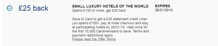 Small Luxury Hotels of the World Amex offer