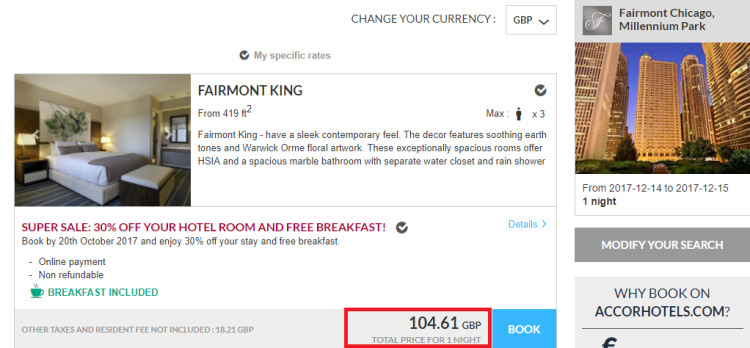 Accor 30% off fairmont chicago accor own site pricing