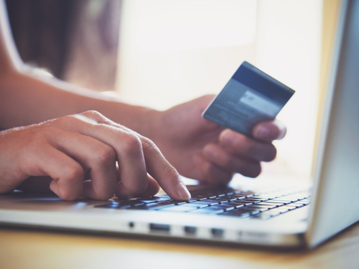 Making an online payment on a laptop