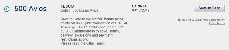 500 bonus Avios at Tesco with Amex